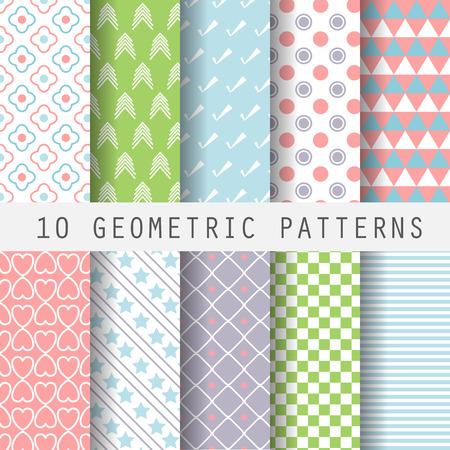 10 Differents Pastel Doux Motifs Geometriques Texture Sans Fin Pour