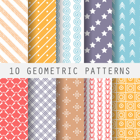 patterns vector: 10 different retro patterns. Endless texture for wallpaper, fill, web page background, surface texture. Set of colorful geometric ornament.  shabby pastel. vector illustration.