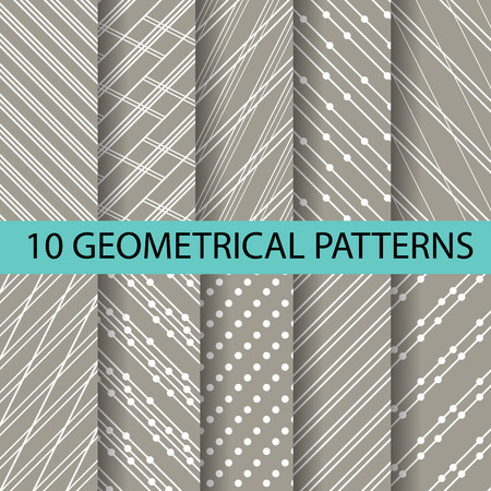 lining: 10 different brown patterns , formal and geometric design, Pattern Swatches vector Endless texture can be used for wallpaper, pattern fills, web page,background,surface