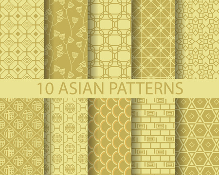 10 different chinese asian traditionalpatterns, Swatches, vector, Endless texture can be used for wallpaper, pattern fills, web page,background,surface