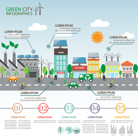 green ecology city infographics background and elements. sola cell and wind energy. for layout, banner, web design, time line, statistic, brochure template. vector illustration