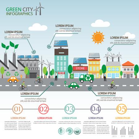 bicicleta: verde ecología infografía ciudad de fondo y elementos. celda sola y la energía eólica. para el diseño, bandera, diseño de páginas web, la línea de tiempo, estadística, plantilla de folleto. ilustración vectorial