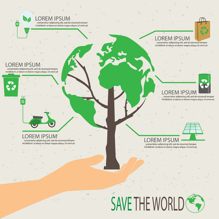 green ecology infographic elements, Can be used for workflow layout, banner, diagram, web design, timeline, info chart, statistic  brochure template. vector illustration