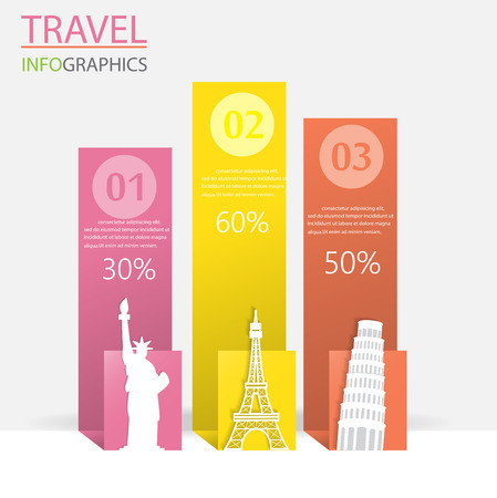 step up: Travel infographic element and  brochure template, world  landmark concept. can be used for workflow layout, diagram, number options, step up options, web design, banner template. Vector illustration