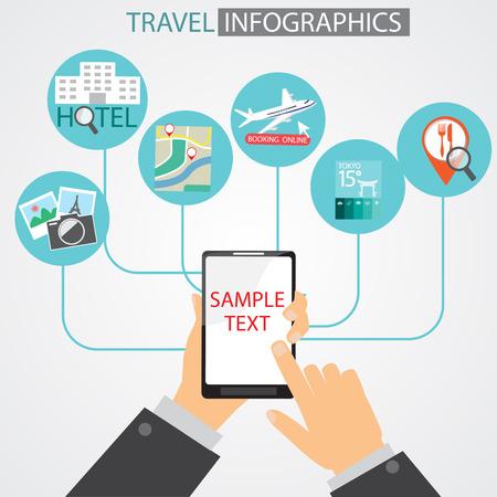 여행 인포 그래픽 요소와 배경에 대한 모바일 애플리케이션. 현대 기술과 평면 디자인. 비즈니스 레이아웃, 다이어그램, 웹 디자인, 브로셔 템플릿을  일러스트