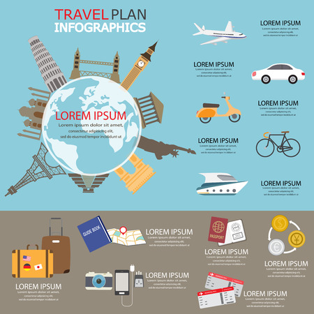 step up: travel planing infographic. can be used for workflow layout, diagram, step up options, web design. Vector illustration Illustration