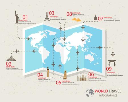 여행: 세계 여행 infographics입니다 요소. 항목은 세계적으로 유명한 랜드 마크를 포함, 옵션, 웹 디자인을 단계, 워크 플로우 레이아웃도 사용할 수 있습니다. 벡터 일러스트