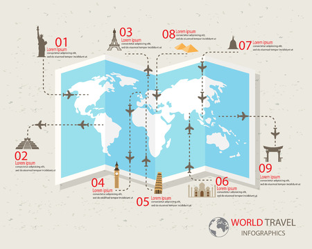 旅遊: 世界旅遊信息圖表元素。項目包括世界著名的地標,可用於工作流佈局,圖表,加緊選項,網頁設計。矢量插圖。
