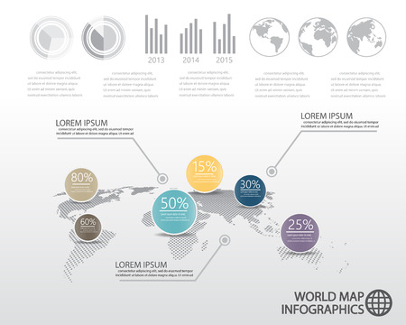 world map and  infographics elements. can be used for workflow layout, diagram, step up options, statistic elements, web design. Vector illustration. Illustration