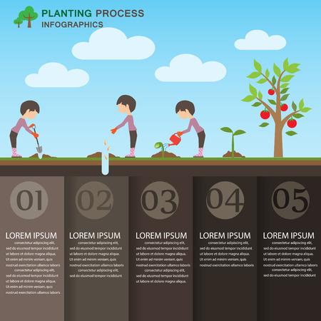regar las plantas: plantación fondo proceso y elementos. ecología verde. Puede ser utilizado para la industria, diseño web, gráfico de información, plantilla de folleto. ilustración vectorial