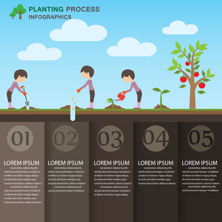 watering garden: planting process background and elements.  green ecology. Can be used for industry, web design, info chart, brochure template. vector illustration