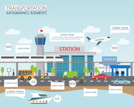 運輸: 交通和城市交通的信息圖表元素。可用於工作流佈局,圖,網頁設計,橫幅模板。矢量插圖