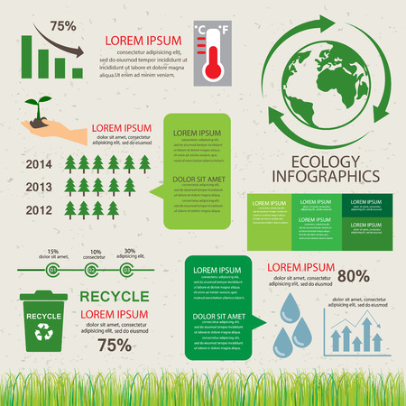 waste recovery: green ecology background and elements. environmental friendly. Can be used for business layout, banner, diagram, statistic, web design, info chart, brochure template. vector illustration