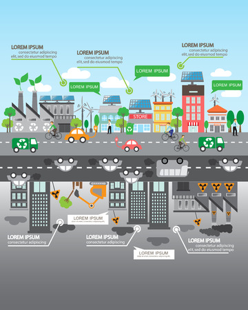 comparison: Environment, ecology infographic elements. Environmental risks and pollution, ecosystem.  Can be used for background, layout, banner, diagram, web design, brochure template. Vector illustration
