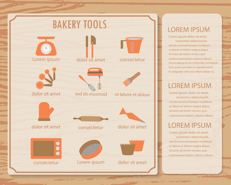 recipe background: cookbook infographics background and elements. there are bakery tools, and book template. Can be used for cooking and food recipe background, layout, banner, web design, brochure. Vector illustration