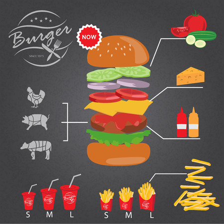 recipe background: fastfood burger infographics background and elements. french fries, drinking water. Can be used for recipe background, advertising shop, layout, banner, web design, brochure. Vector illustration
