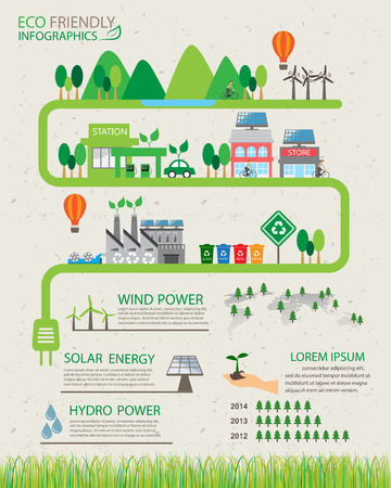 car factory: green ecology infographics elements and  background, environment friendly concept. Can be used for  industry statistic , business data, web design, info chart, brochure template. vector illustration