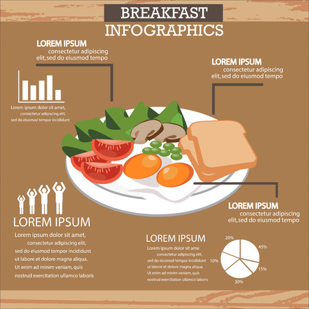 recipe background: healthy breakfast infographics background and elements. Can be used for recipe background, stat, advertising shop, layout, banner, web design, brochure. Vector illustration