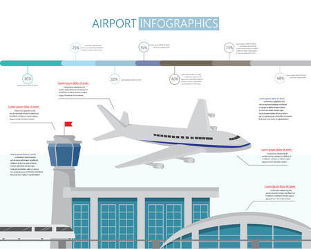 airport symbol: Airport business infographics with architect and airplane design. vector illustration