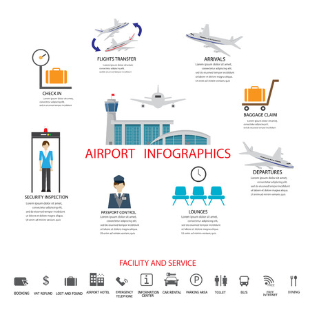 refund: Airport business infographics template with  workflow steps , facility and service icon set. vector illustration