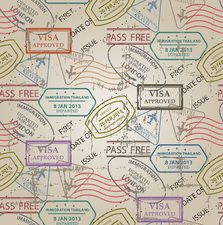 travel destination: vintage color seamless pattern, stamps of passport control offices from different countries and tourist destinations in a travel and vacation concept
