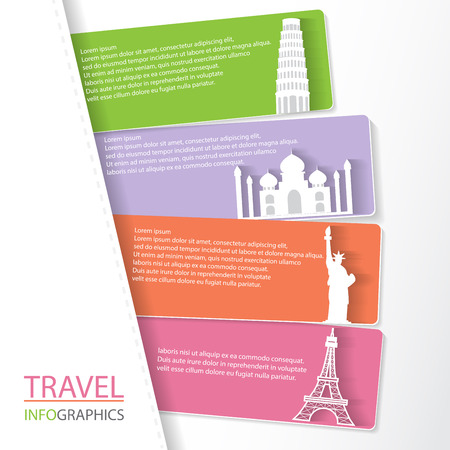 business graphics: Travel infographic element and  brochure template, world  landmark concept. can be used for workflow layout, diagram, number options, step up options, web design, banner template. Vector illustration