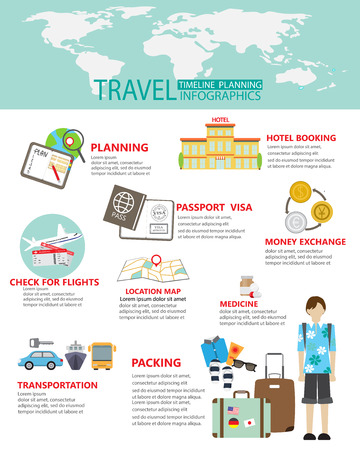 travel planing infographic.  can be used for workflow layout, diagram, step up options, web design, banner template. Vector illustration Illustration