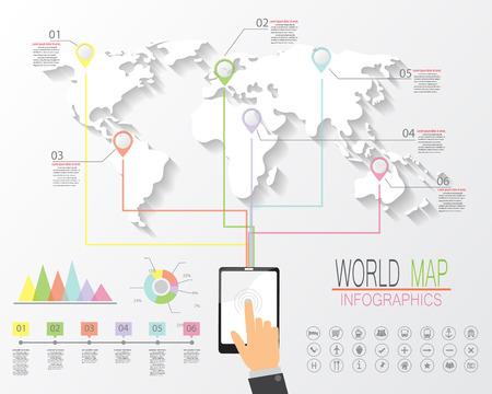 conection: mapa del mundo y infograf�as elementos. concepto de conexi�n en todo el mundo. ilustraci�n vectorial.