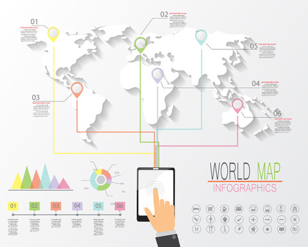 conection: world map and  infographics elements. worldwide conection concept. vector illustration. Illustration
