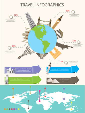 world travel infographics elements. items are included world famous landmark and map, vector illustration. Illustration