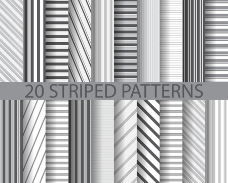 20 different black and white stripes seamless patterns, Pattern Swatches, vector, Endless texture can be used for wallpaper, pattern fills, web page,background,surface