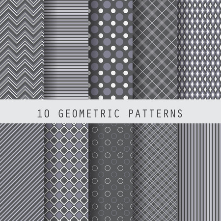 10 different black geometric patterns , formal and dark design for business template, Pattern Swatches vector Endless texture can be used for wallpaper, pattern fills, web page,background,surface Illustration