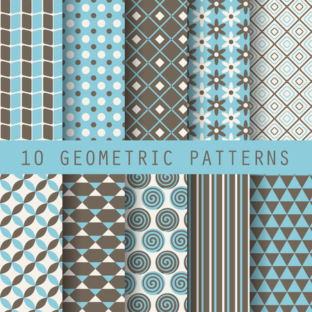10 retro different vector  patterns. Endless texture for wallpaper, fill, web page background, surface texture. Set of monochrome geometric ornament. Blue and white shabby pastel