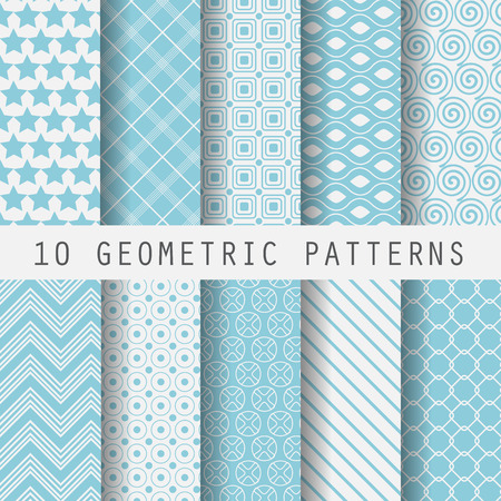10 Vintage different vector  patterns. Endless texture for wallpaper, fill, web page background, surface texture. Set of monochrome geometric ornament. Blue and white shabby pastel