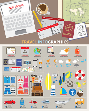 travel planing infographic. can be used for workflow layout, diagram, step up options, web design. Vector illustration Illustration