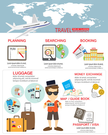 travel planing infographic.  can be used for workflow layout, diagram, step up options, web design, banner template. Vector illustration Çizim