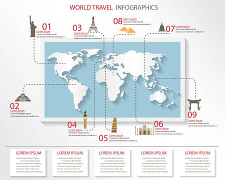 used items: world travel infographics elements. items are included world famous landmark, can be used for workflow layout, diagram, step up options, web design. Vector illustration. Illustration