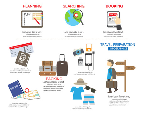 travel preparation infographic, Vector illustration. Can be used for workflow layout, banner, step up options, web design, diagram.