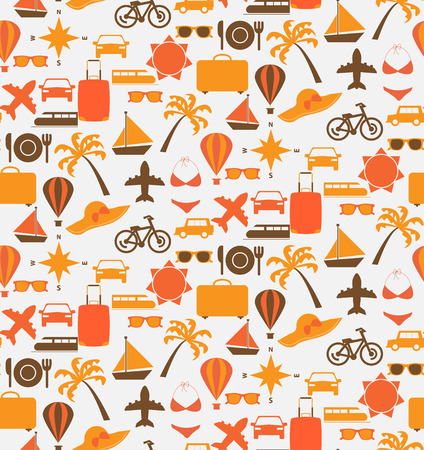 icon set: travel seamless pattern, Endless texture can be used for wallpaper, pattern fills, web page background,surface textures.