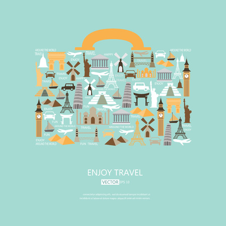 World travel background. travel icons in the form of a bag, vector Illustration