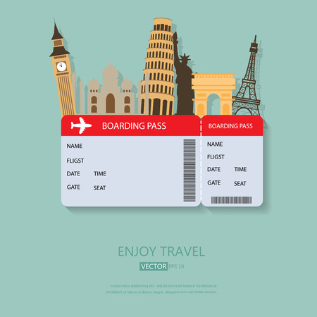 air ticket: travel and Flights background for tourist,  holidays and vacation. items are include air ticket and world heritage vector, text can be added