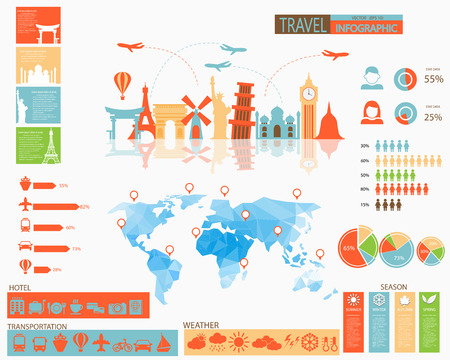 Travel infographic with hotel icons, transportation icons, weather, charts and elements