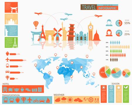 estado del tiempo: Viaja infografía con los iconos de hotel, los iconos de transporte, clima, cuadros y elementos Vectores