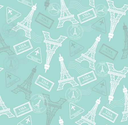 eiffel: seamless pattern with eiffel tower and stamps.vector, Endless texture can be used for wallpaper, pattern fills, web page background,surface textures.