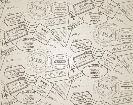 reise retro: Jahrgang nahtlose Muster, Stempel der Passkontrollstellen aus verschiedenen Ländern und touristischen Destinationen in einer Reise und Urlaub Konzept