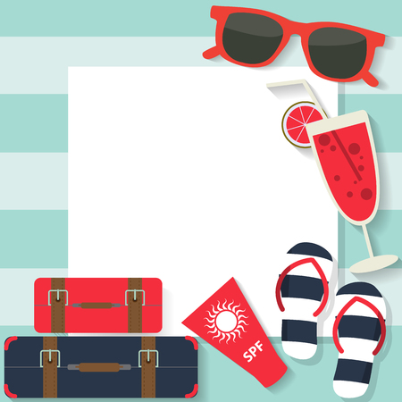 sunscreen: traveling around the world and booking online background, flat icon on white paper design, text can be added