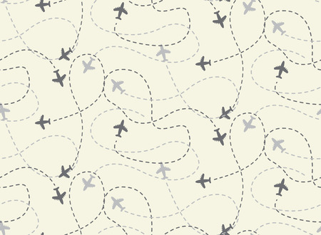 travel airplane routes seamless pattern,  vector, Endless texture can be used for wallpaper, pattern fills, web page,background,surface