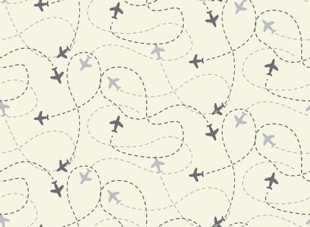 旅行飛行機ルート シームレス パターン、ベクトル、無限テクスチャ壁紙、パターンの塗りつぶし、web ページ、背景、表面に使用できます  イラスト・ベクター素材