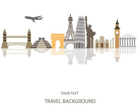 旅行: 世界旅遊背景 向量圖像