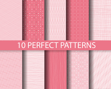 wallpaper dot: 10 different beautiful pink linear and dot patterns. Endless texture can be used for wallpaper, pattern fills, web page background,surface textures,tile, greeting card, scrapbook, backdrop Illustration